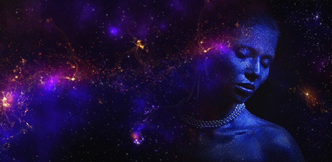 girl with galaxy on the background