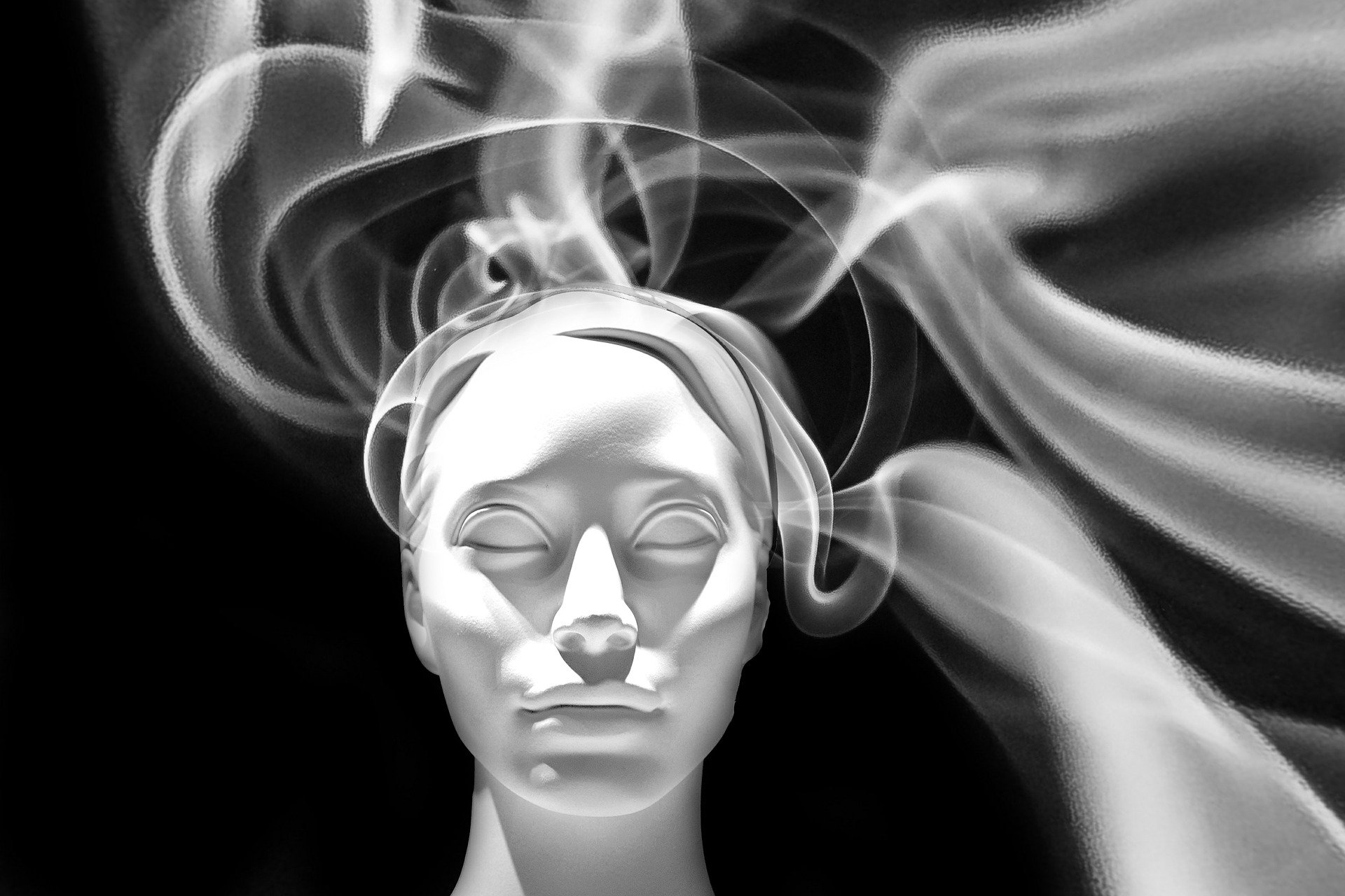 face with white smoke on the background