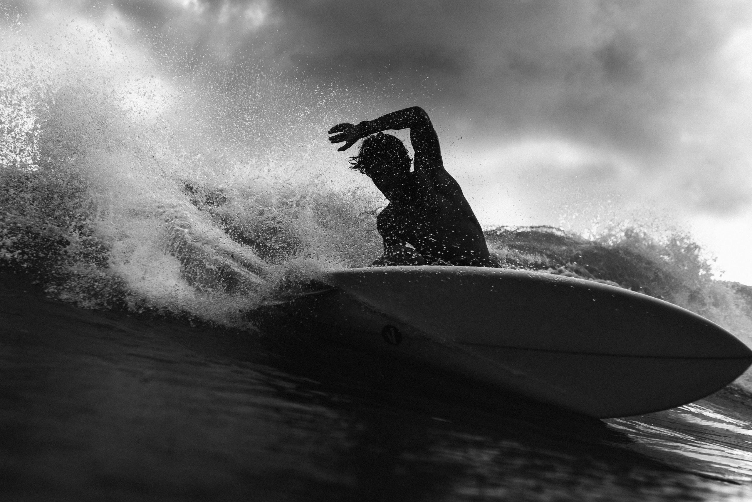 man surfing a big wave