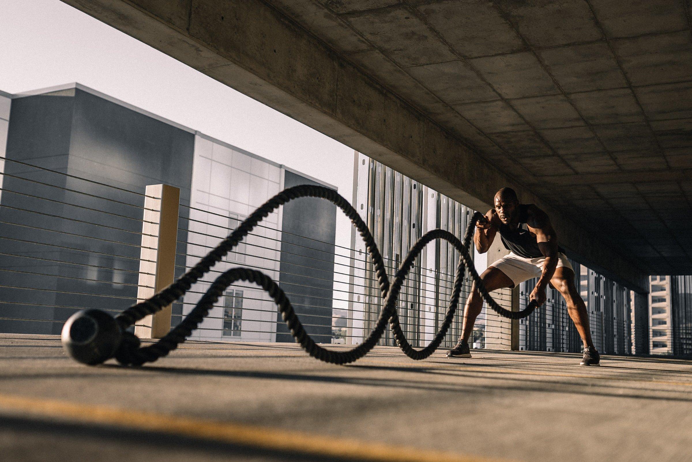 man doing intensive workout