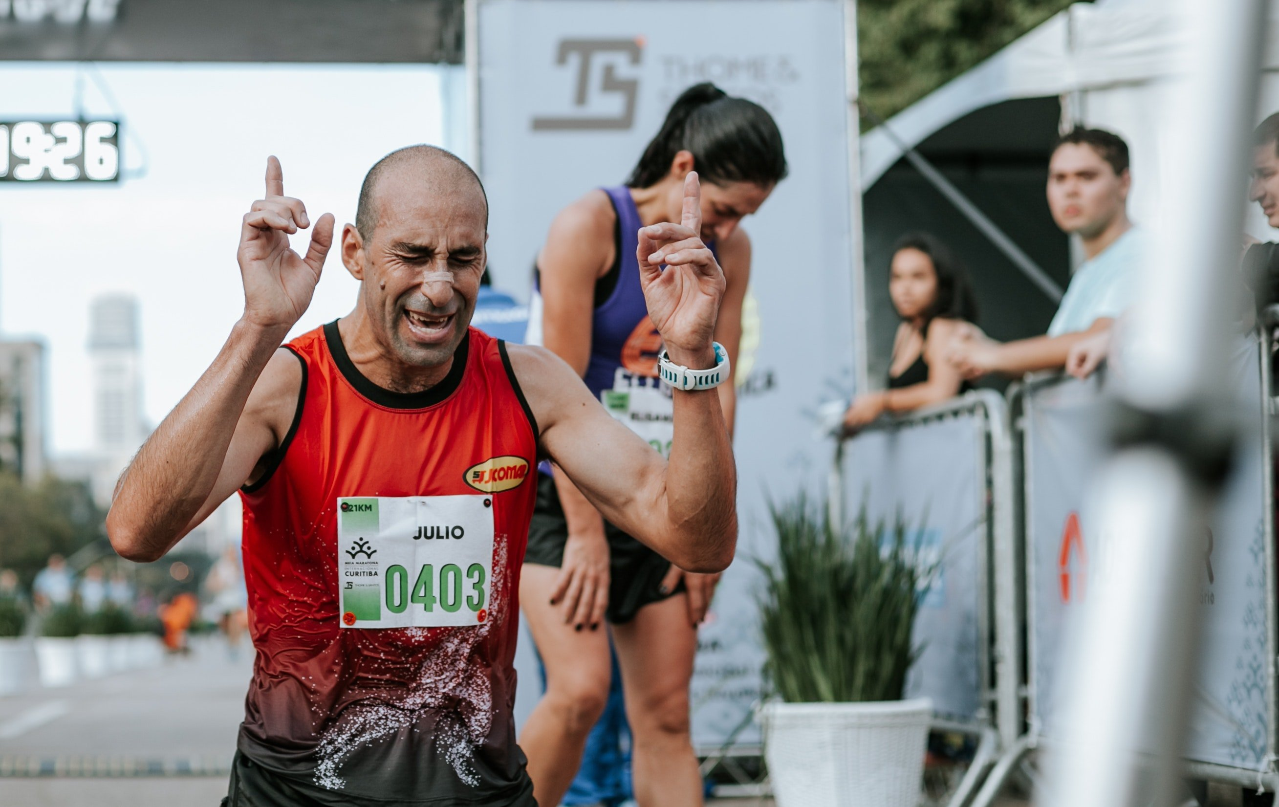 man on the finish line