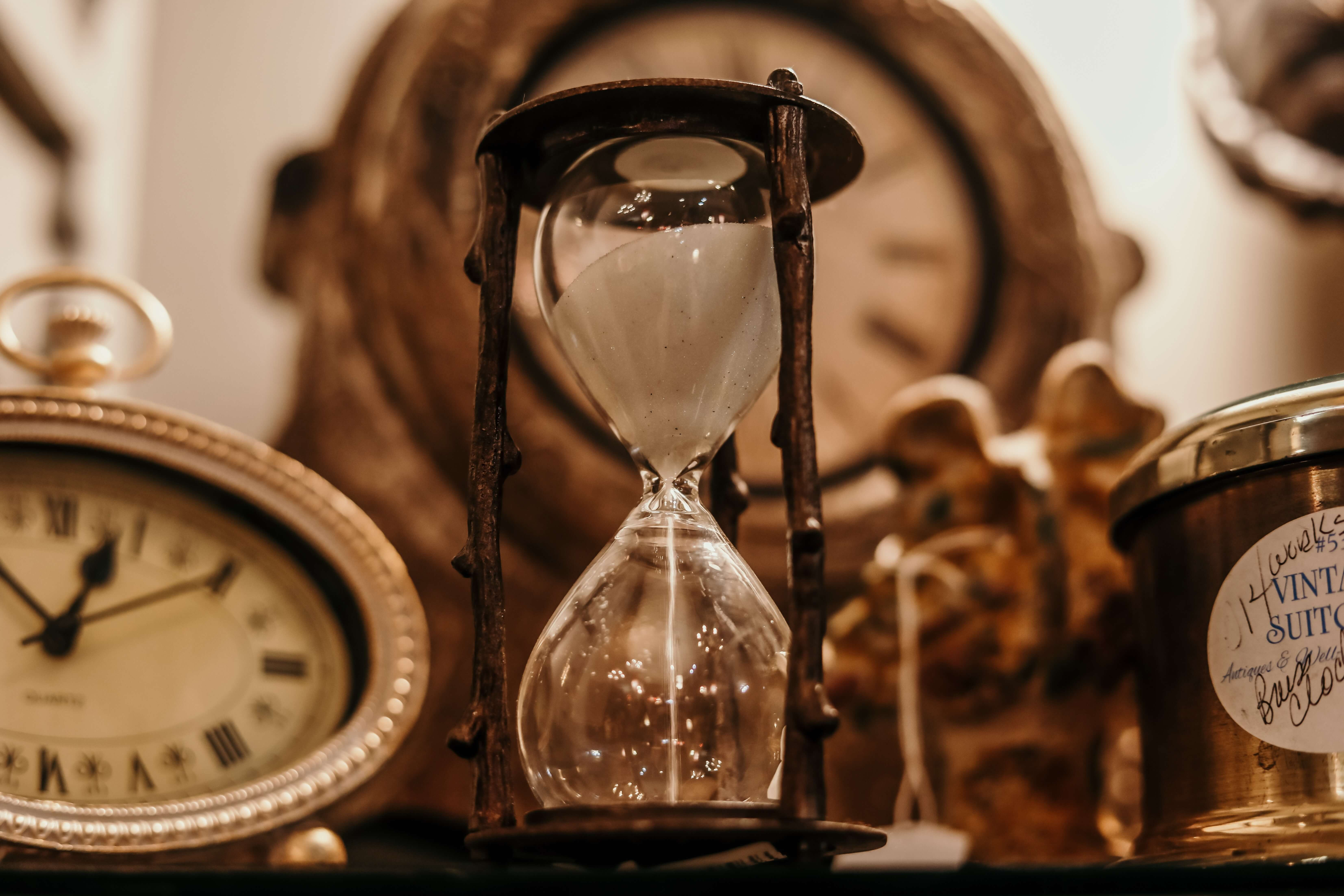 hourglass and old clocks
