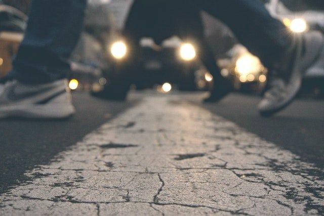 walking on a pedestrian