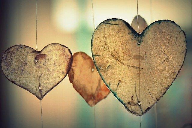 hearts shapes  being hang
