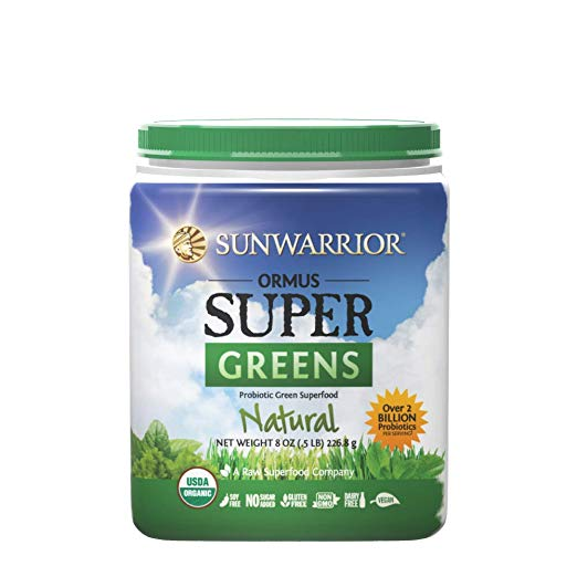 Sunwarrior Ormus Super Greens plastic container