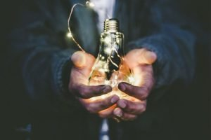 hands holding a bulb
