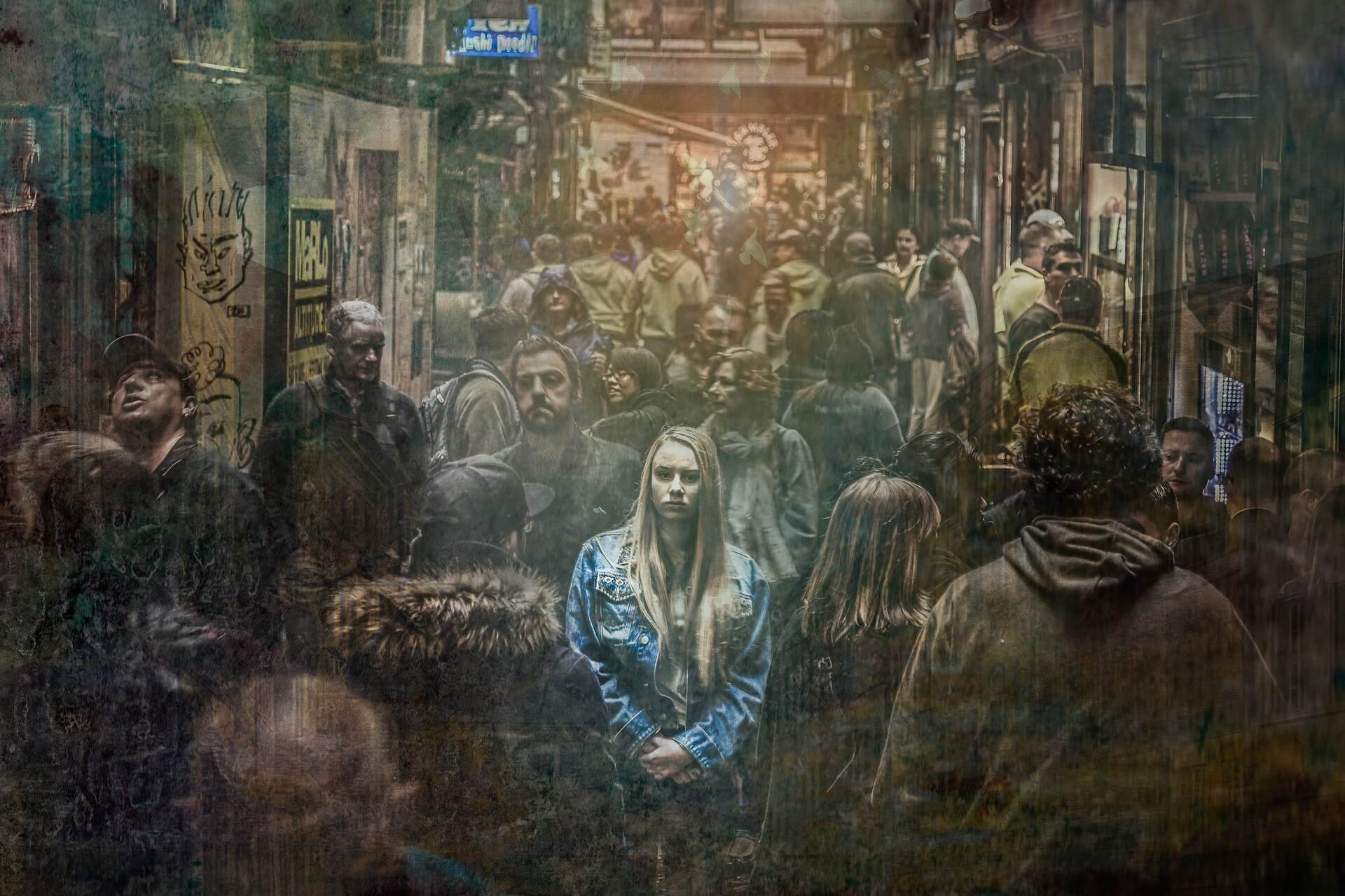 girl in a crowd