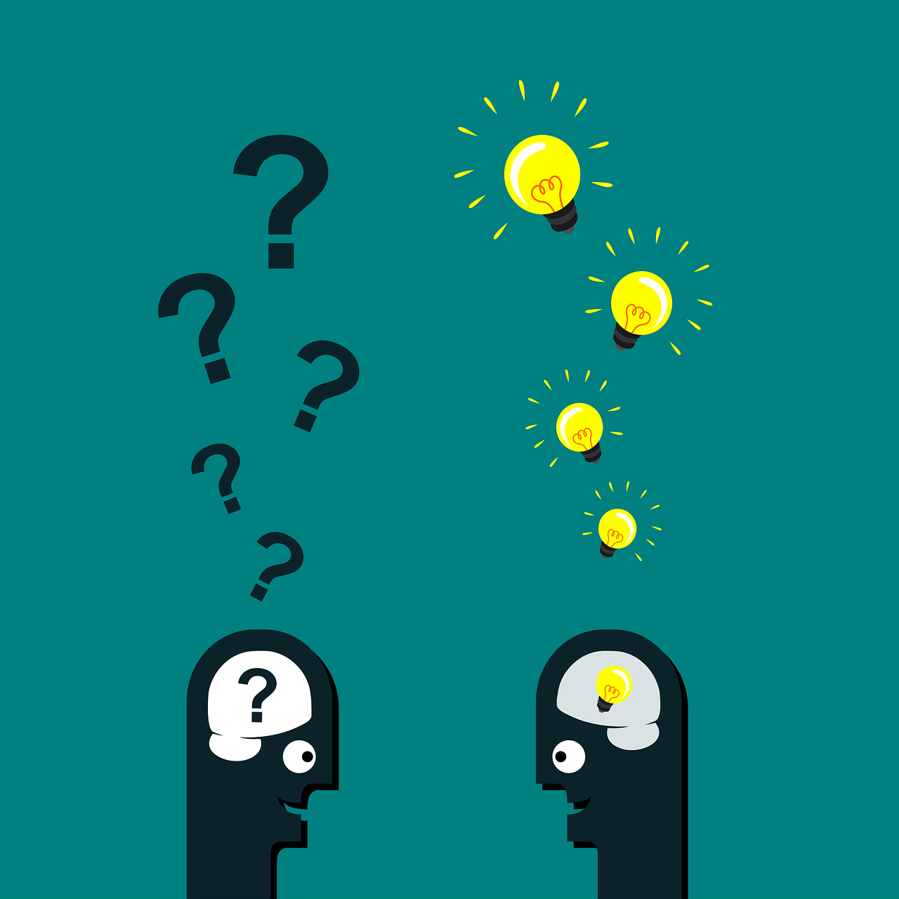 two people talking with question and ideas