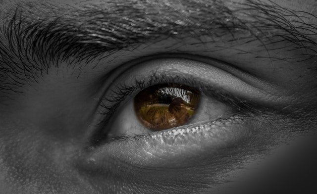 human left eyes looking far away