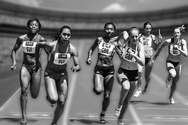 women relay race black and white