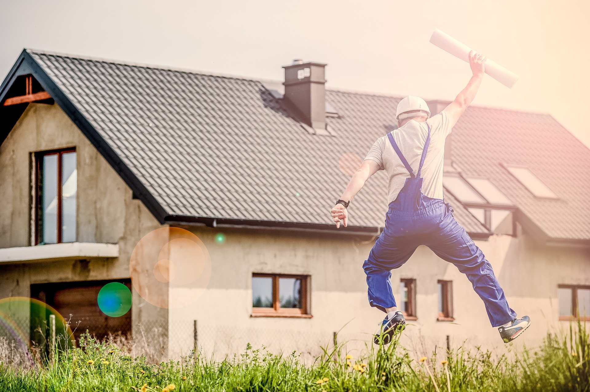 architect jumping happily